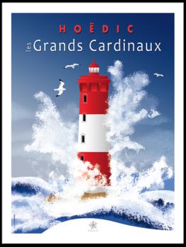 le phare des grands cardinaux pendant une tempête au large de Hoëdic dans le Morbihan