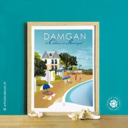 affiche encadrée des cabines de la plage de kervoyal à damgan