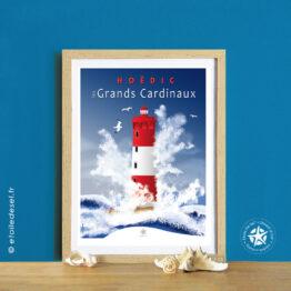 affiche encadrée du phare des grands cardinaux à Hoëdic