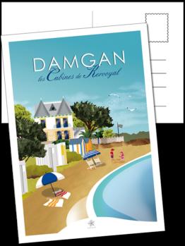 les cabines de la plage de kervoyal à damgan carte postale morbihan bretagne