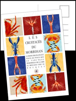 retrouvez les crustacées du morbihan sur une seul carte postale