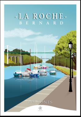 les célèbres pont de la roche-bernard dans le morbihan en carte postale