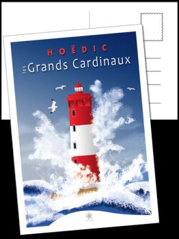 carte postale du phare des grands cardinaux à Hoëdic dans le Morbihan