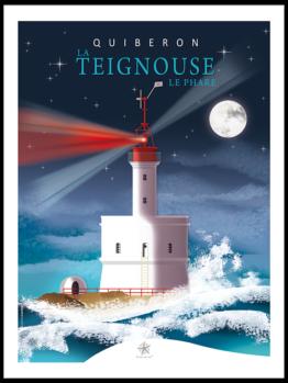 le phare de la teignouse pendant une nuit de tempête près de quiberon dans le morbihan