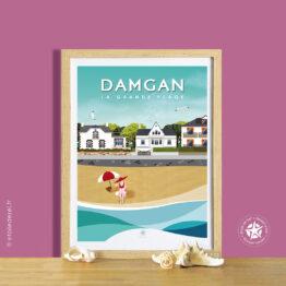 affiche encadrée de la baigneuse de la plage de damgan