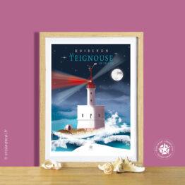 affiche encadrée du phare de la teignouse à quiberon