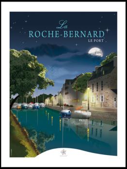 Une vue nocturne et étoilée sur le port de laroche bernard, petite citée de caractère dans le morbihan