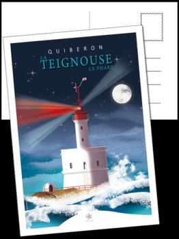 carte postale du phare de teignouse au large de quiberon dans le morbihan