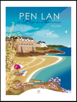 affiche la plage des amoureux à Pen lan pointe de roche-vilaine billiers morbihan