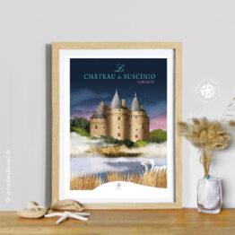 Affiche encadrée château de suscinio à sarzeau