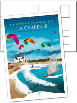 carte postale penvis kite surf sarzeau rhuys morbihan