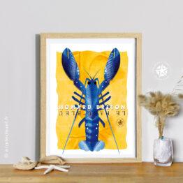 affiche le homard bleu en cadre