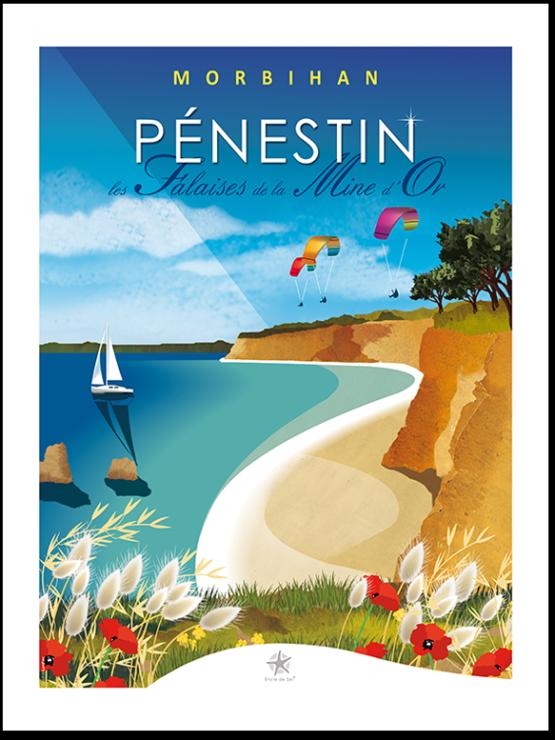 affiche plage et falaise de pénestin dans le morbihan