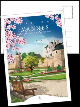 le jardin des remparts de vannes en carte postale